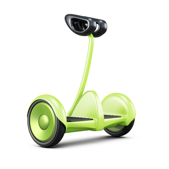 Gyroscooter with handle on white background. 3d rendering.